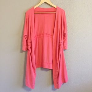 Lululemon Coral Open Front Draped Wrap Cardigan 8